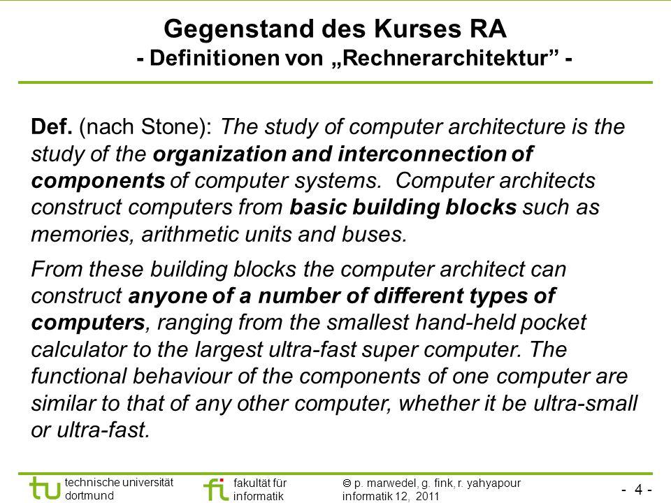 - 4 - technische universität dortmund fakultät für informatik p. marwedel, g. fink, r. yahyapour informatik 12, 2011 Gegenstand des Kurses RA - Defini