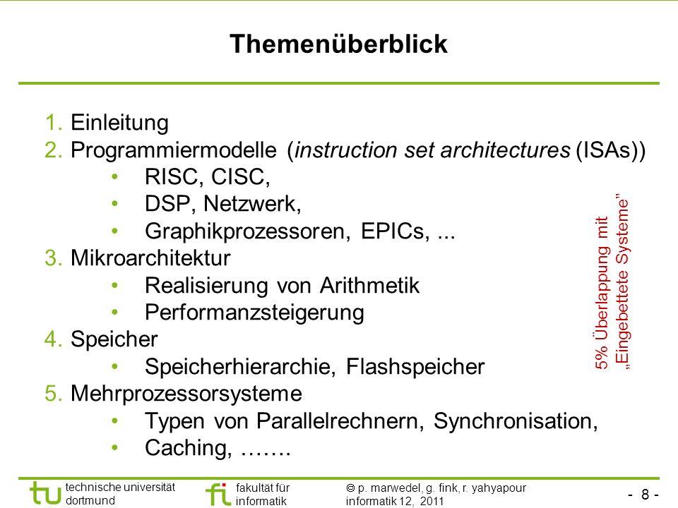 - 8 - technische universität dortmund fakultät für informatik p. marwedel, g. fink, r. yahyapour informatik 12, 2011 Themenüberblick 1.Einleitung 2.Pr