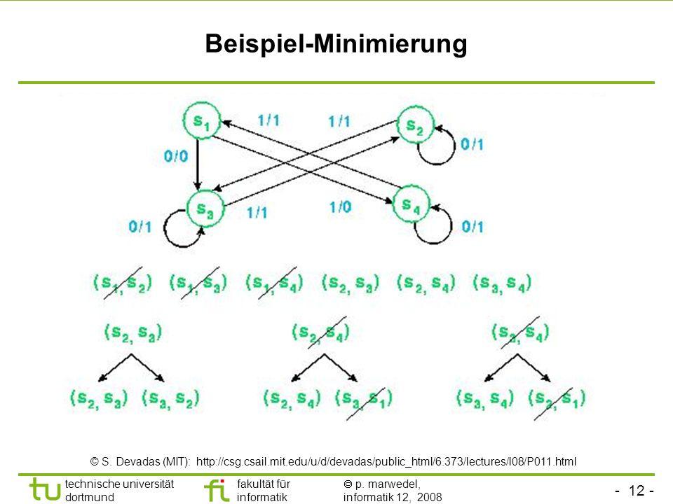 - 12 - technische universität dortmund fakultät für informatik p. marwedel, informatik 12, 2008 Beispiel-Minimierung © S. Devadas (MIT): http://csg.cs