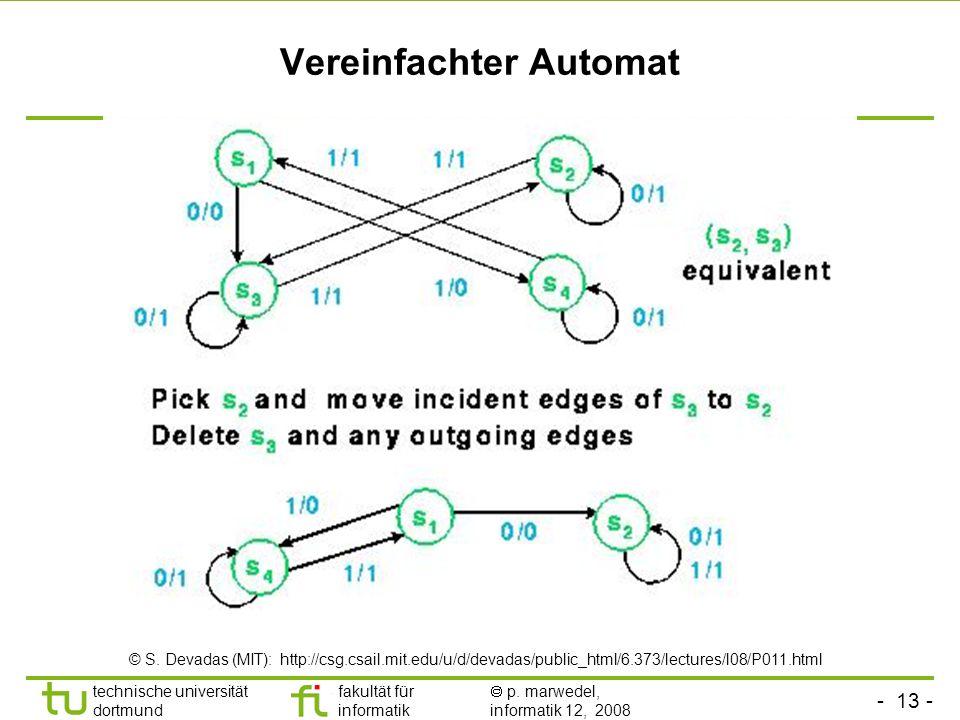 - 13 - technische universität dortmund fakultät für informatik p. marwedel, informatik 12, 2008 Vereinfachter Automat © S. Devadas (MIT): http://csg.c