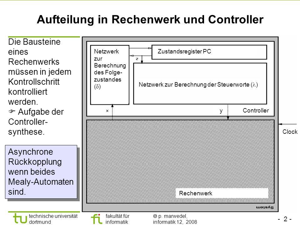 - 2 - technische universität dortmund fakultät für informatik p. marwedel, informatik 12, 2008 Aufteilung in Rechenwerk und Controller Die Bausteine e