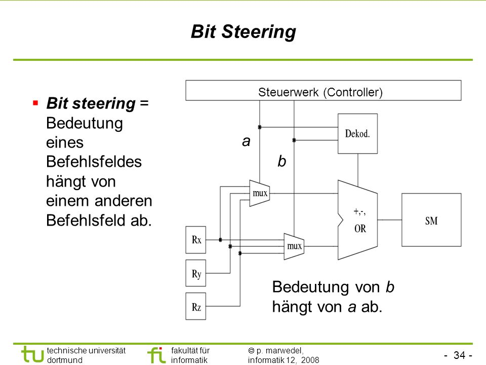 - 34 - technische universität dortmund fakultät für informatik p. marwedel, informatik 12, 2008 Bit Steering Bit steering = Bedeutung eines Befehlsfel