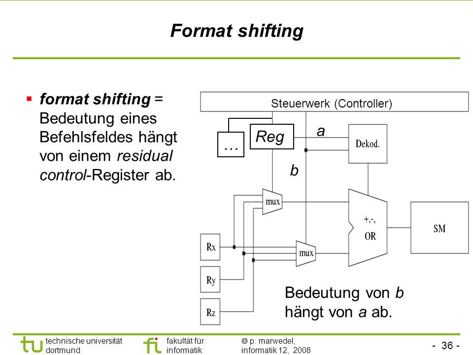 - 36 - technische universität dortmund fakultät für informatik p. marwedel, informatik 12, 2008 Format shifting format shifting = Bedeutung eines Befe