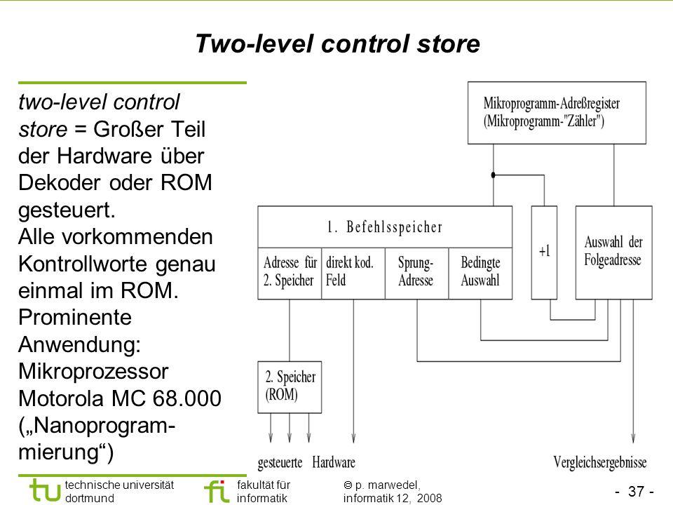 - 37 - technische universität dortmund fakultät für informatik p. marwedel, informatik 12, 2008 Two-level control store two-level control store = Groß