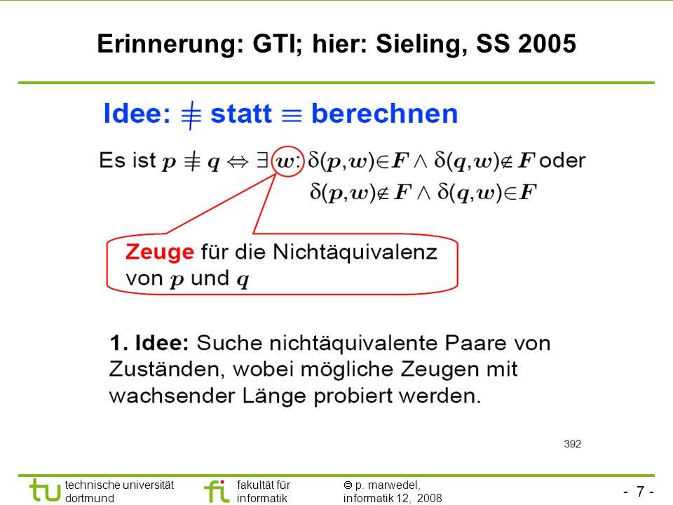 - 7 - technische universität dortmund fakultät für informatik p. marwedel, informatik 12, 2008 Erinnerung: GTI; hier: Sieling, SS 2005