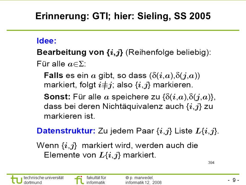 - 9 - technische universität dortmund fakultät für informatik p. marwedel, informatik 12, 2008 Erinnerung: GTI; hier: Sieling, SS 2005