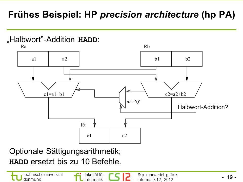- 19 - technische universität dortmund fakultät für informatik p. marwedel, g. fink informatik 12, 2012 Frühes Beispiel: HP precision architecture (hp
