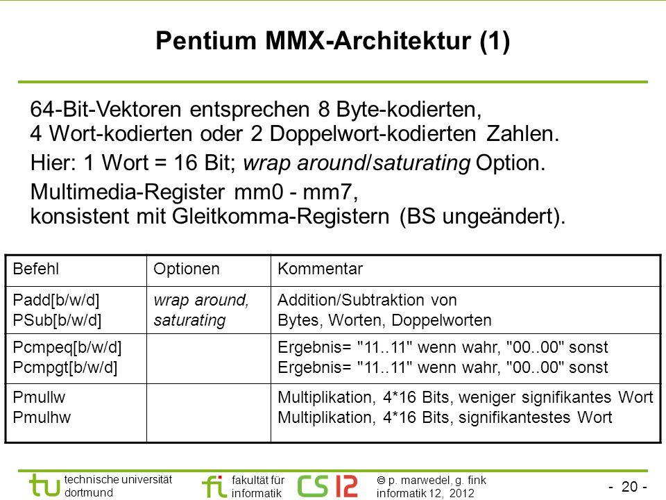 - 20 - technische universität dortmund fakultät für informatik p. marwedel, g. fink informatik 12, 2012 Pentium MMX-Architektur (1) 64-Bit-Vektoren en