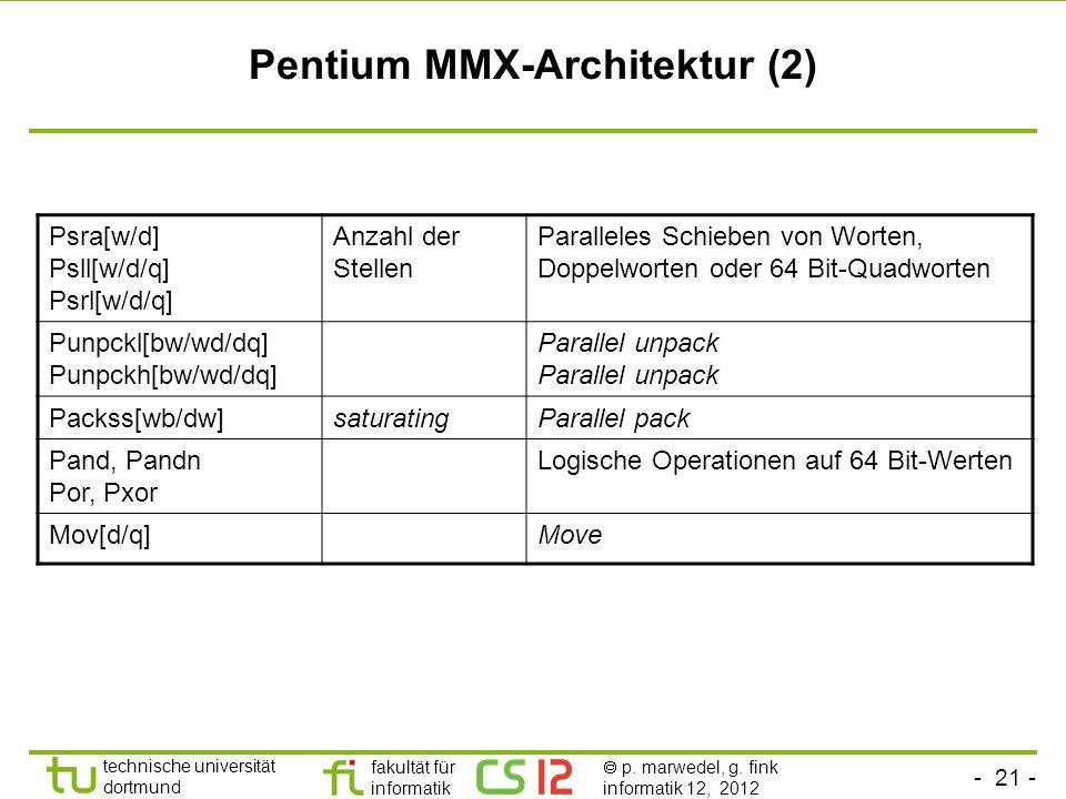 - 21 - technische universität dortmund fakultät für informatik p. marwedel, g. fink informatik 12, 2012 Pentium MMX-Architektur (2) Psra[w/d] Psll[w/d