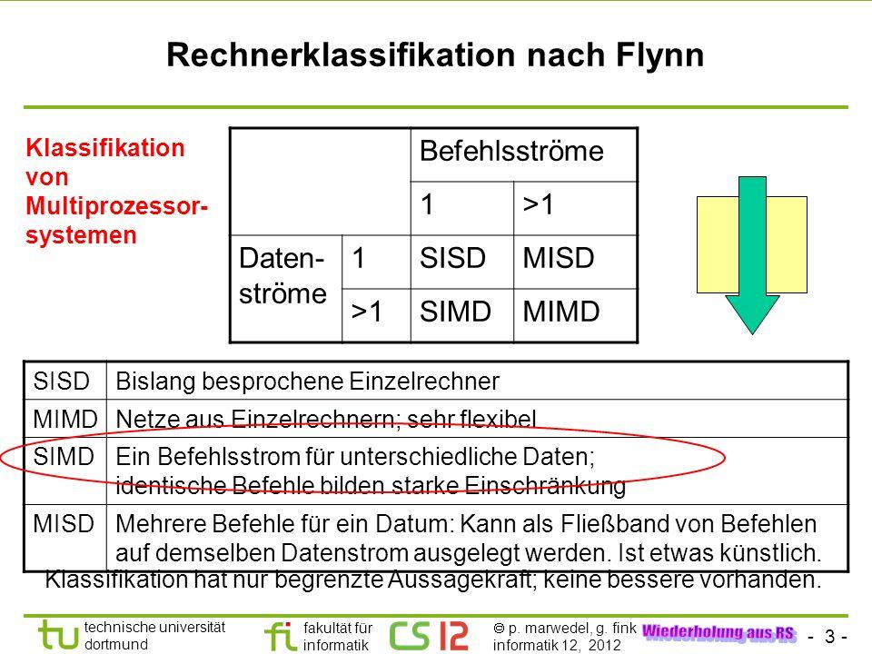 - 3 - technische universität dortmund fakultät für informatik p. marwedel, g. fink informatik 12, 2012 Rechnerklassifikation nach Flynn Befehlsströme
