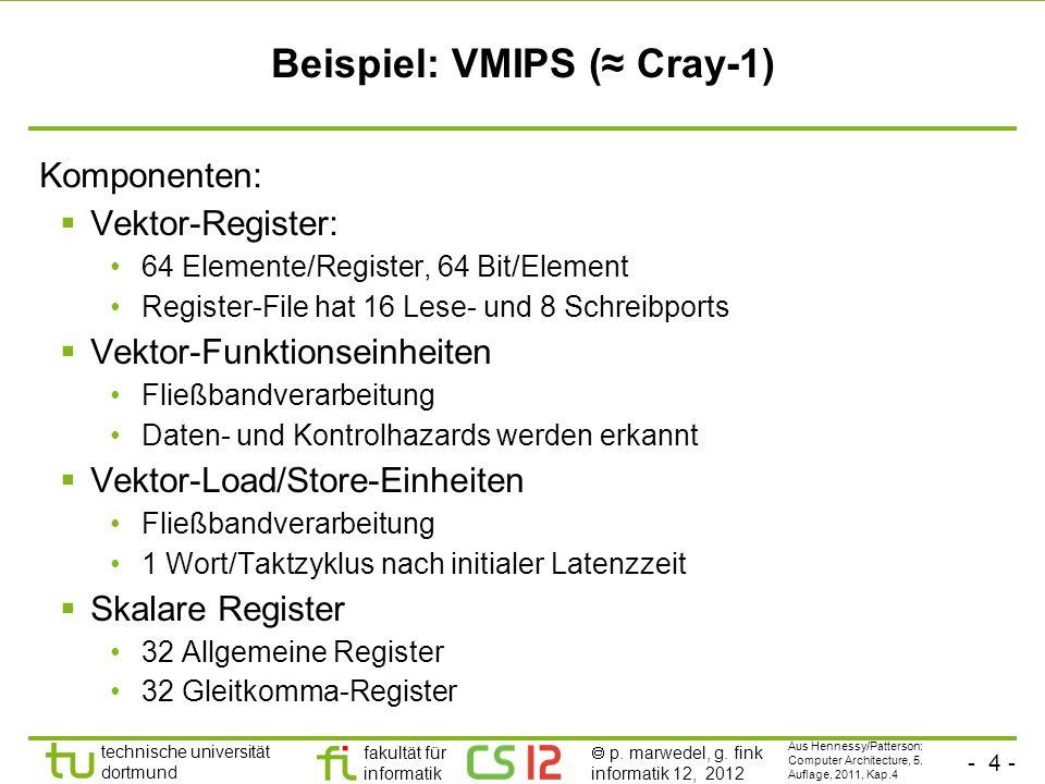 - 4 - technische universität dortmund fakultät für informatik p. marwedel, g. fink informatik 12, 2012 Beispiel: VMIPS ( Cray-1) Komponenten: Vektor-R