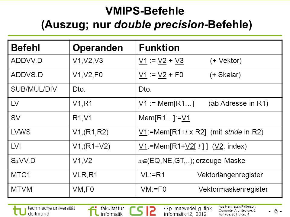 - 6 - technische universität dortmund fakultät für informatik p. marwedel, g. fink informatik 12, 2012 VMIPS-Befehle (Auszug; nur double precision-Bef