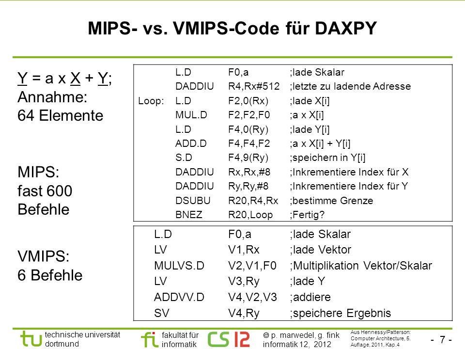 - 7 - technische universität dortmund fakultät für informatik p. marwedel, g. fink informatik 12, 2012 MIPS- vs. VMIPS-Code für DAXPY L.DF0,a;lade Ska