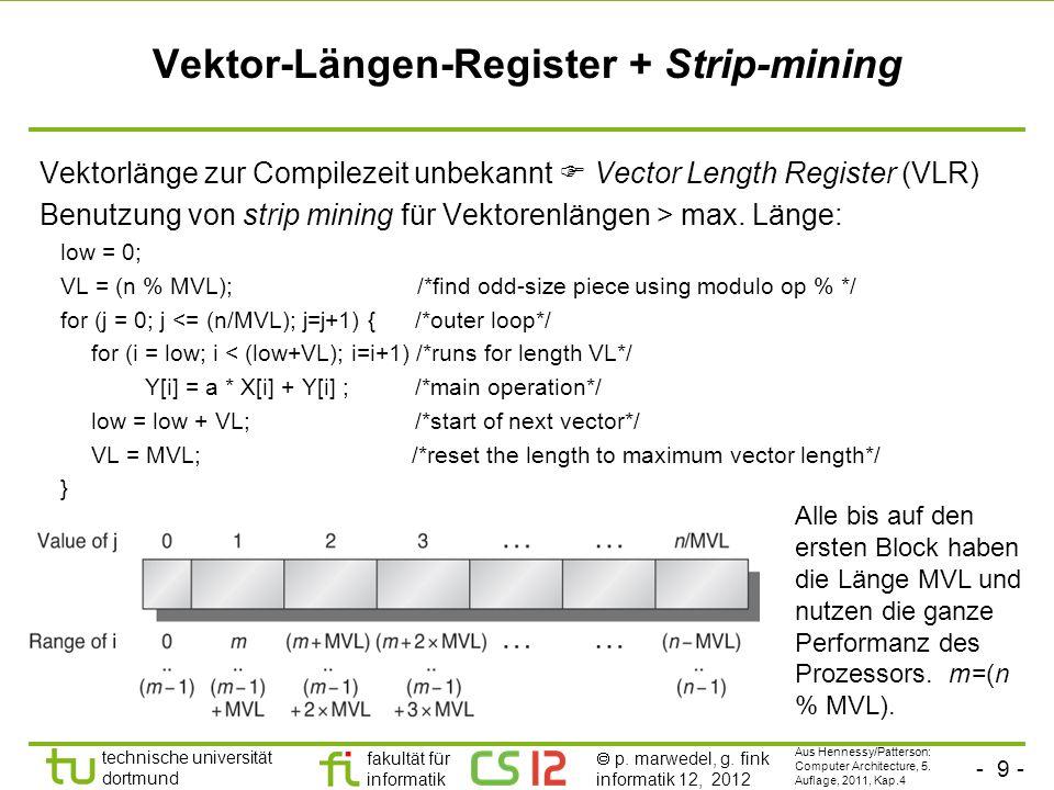 - 9 - technische universität dortmund fakultät für informatik p. marwedel, g. fink informatik 12, 2012 Vektor-Längen-Register + Strip-mining Vektorlän