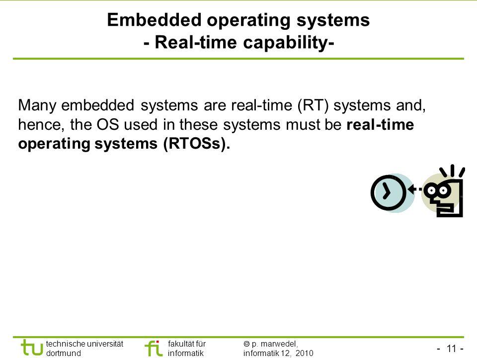 - 11 - technische universität dortmund fakultät für informatik p. marwedel, informatik 12, 2010 TU Dortmund Embedded operating systems - Real-time cap