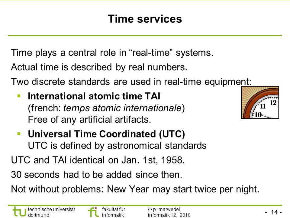 - 14 - technische universität dortmund fakultät für informatik p. marwedel, informatik 12, 2010 TU Dortmund Time services Time plays a central role in
