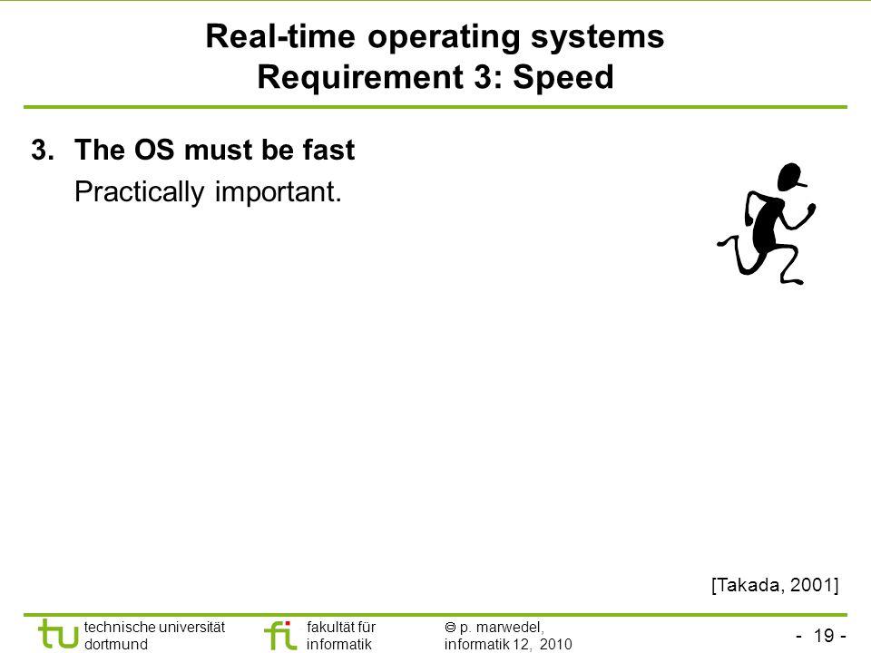 - 19 - technische universität dortmund fakultät für informatik p. marwedel, informatik 12, 2010 TU Dortmund Real-time operating systems Requirement 3: