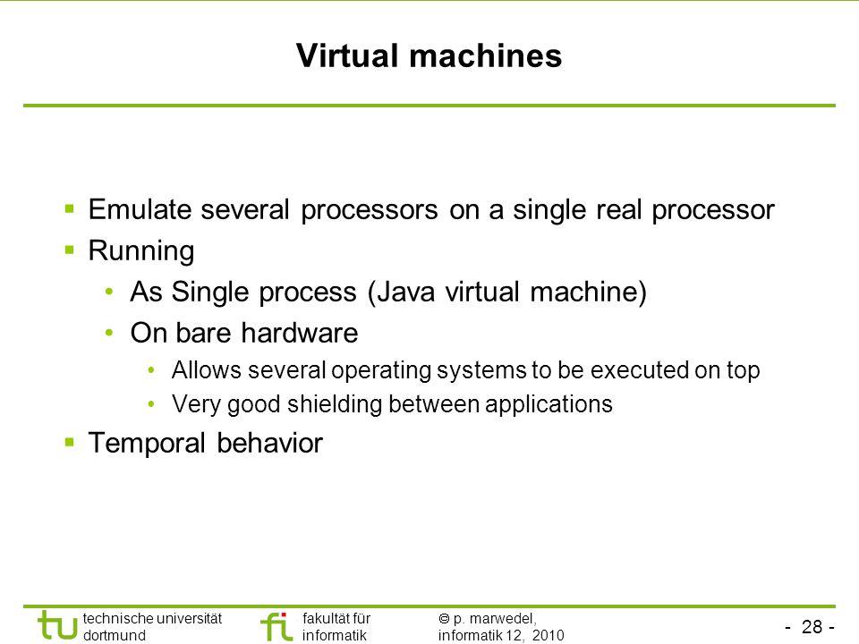 - 28 - technische universität dortmund fakultät für informatik p. marwedel, informatik 12, 2010 TU Dortmund Virtual machines Emulate several processor