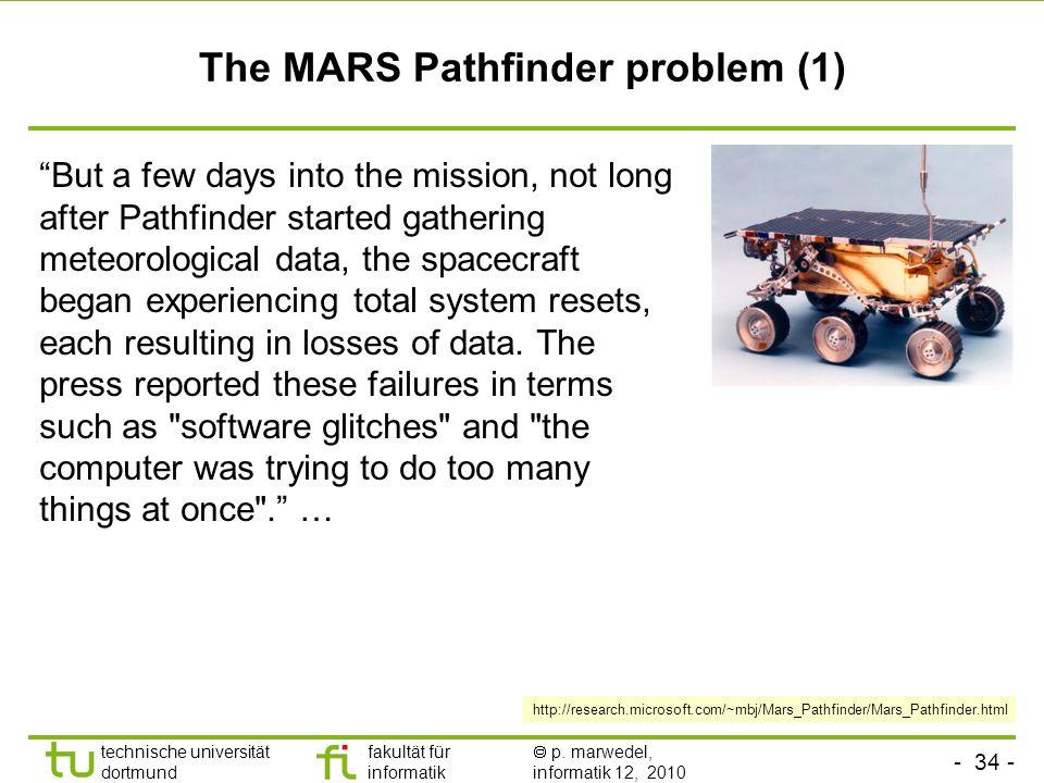 - 34 - technische universität dortmund fakultät für informatik p. marwedel, informatik 12, 2010 TU Dortmund The MARS Pathfinder problem (1) But a few