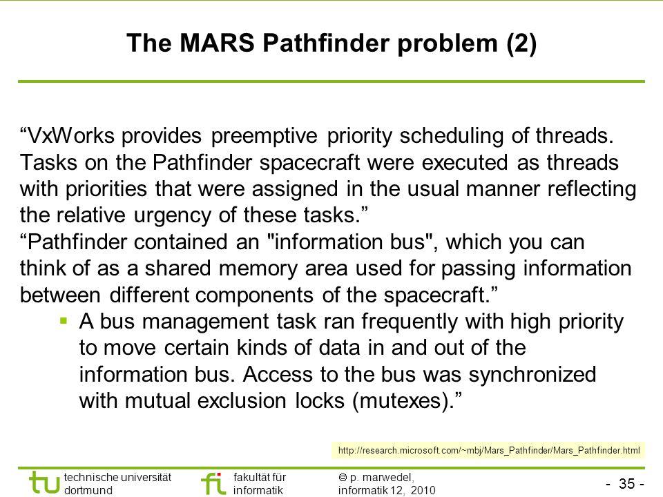 - 35 - technische universität dortmund fakultät für informatik p. marwedel, informatik 12, 2010 TU Dortmund The MARS Pathfinder problem (2) VxWorks pr