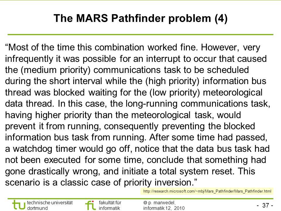 - 37 - technische universität dortmund fakultät für informatik p. marwedel, informatik 12, 2010 TU Dortmund The MARS Pathfinder problem (4) Most of th