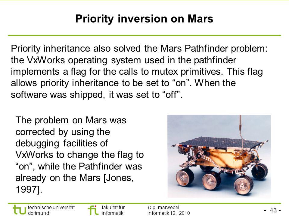 - 43 - technische universität dortmund fakultät für informatik p. marwedel, informatik 12, 2010 TU Dortmund Priority inversion on Mars Priority inheri
