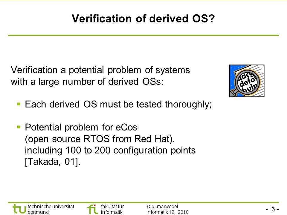 - 6 - technische universität dortmund fakultät für informatik p. marwedel, informatik 12, 2010 TU Dortmund Verification of derived OS? Verification a