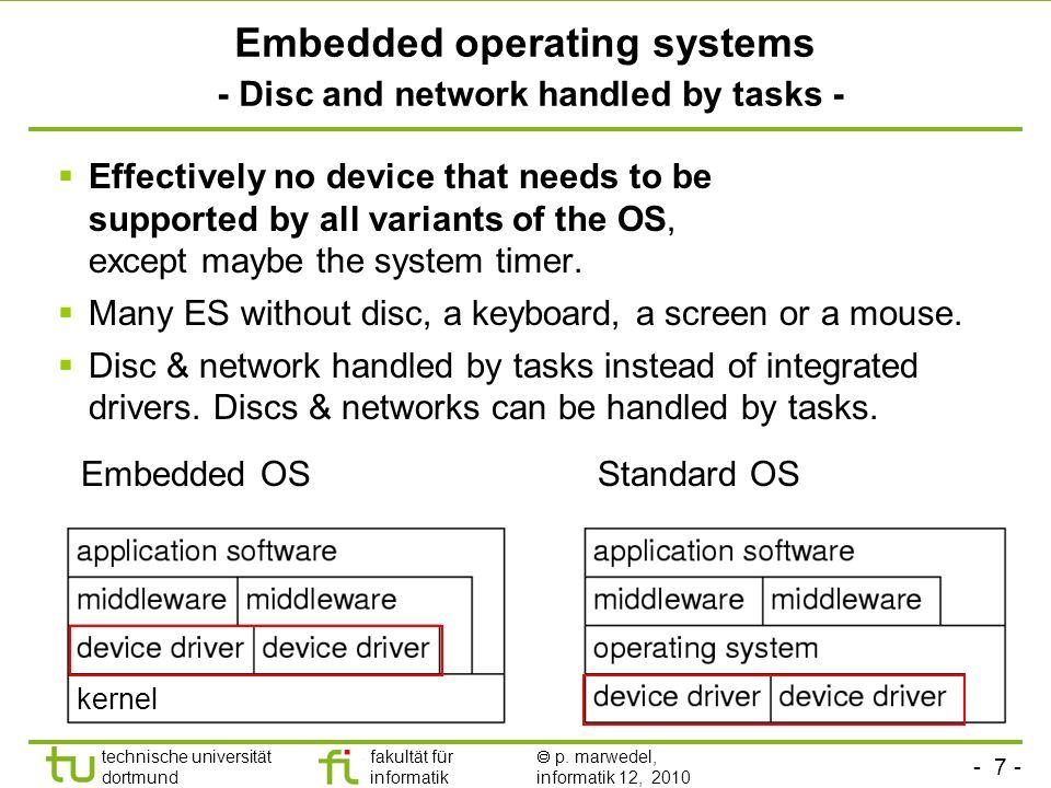 - 7 - technische universität dortmund fakultät für informatik p. marwedel, informatik 12, 2010 TU Dortmund Embedded operating systems - Disc and netwo