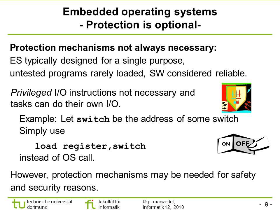- 9 - technische universität dortmund fakultät für informatik p. marwedel, informatik 12, 2010 TU Dortmund Embedded operating systems - Protection is