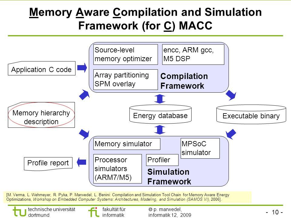 - 10 - technische universität dortmund fakultät für informatik p. marwedel, informatik 12, 2009 TU Dortmund Memory Aware Compilation and Simulation Fr