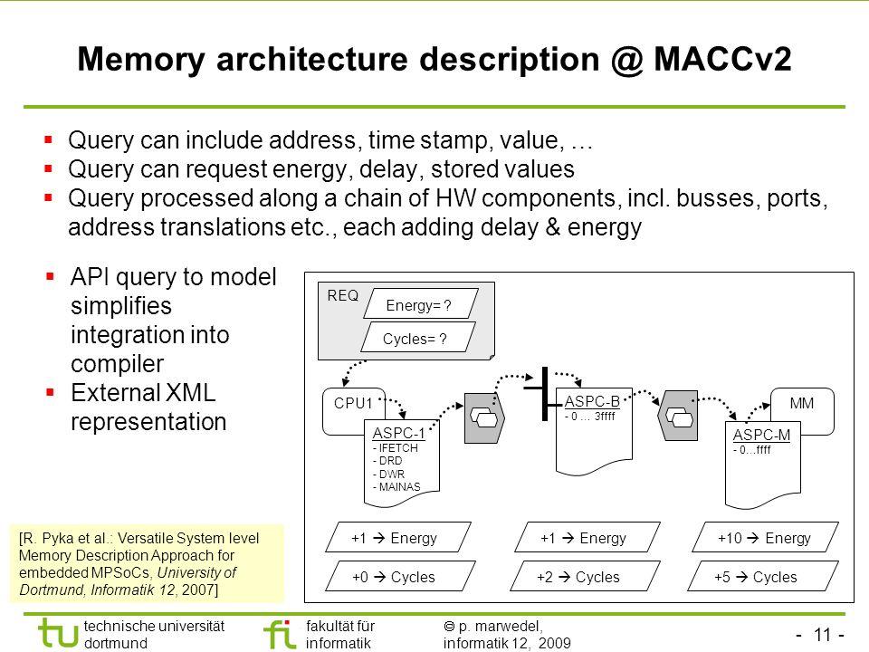- 11 - technische universität dortmund fakultät für informatik p. marwedel, informatik 12, 2009 TU Dortmund Memory architecture description @ MACCv2 Q