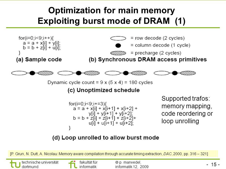- 15 - technische universität dortmund fakultät für informatik p. marwedel, informatik 12, 2009 TU Dortmund Optimization for main memory Exploiting bu