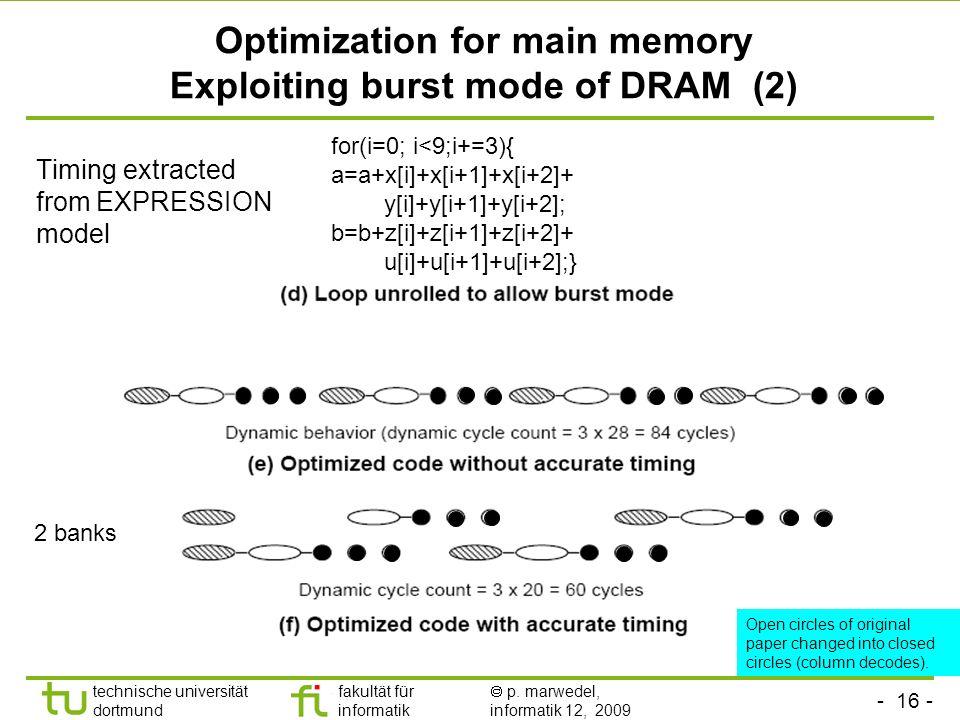 - 16 - technische universität dortmund fakultät für informatik p. marwedel, informatik 12, 2009 TU Dortmund Optimization for main memory Exploiting bu