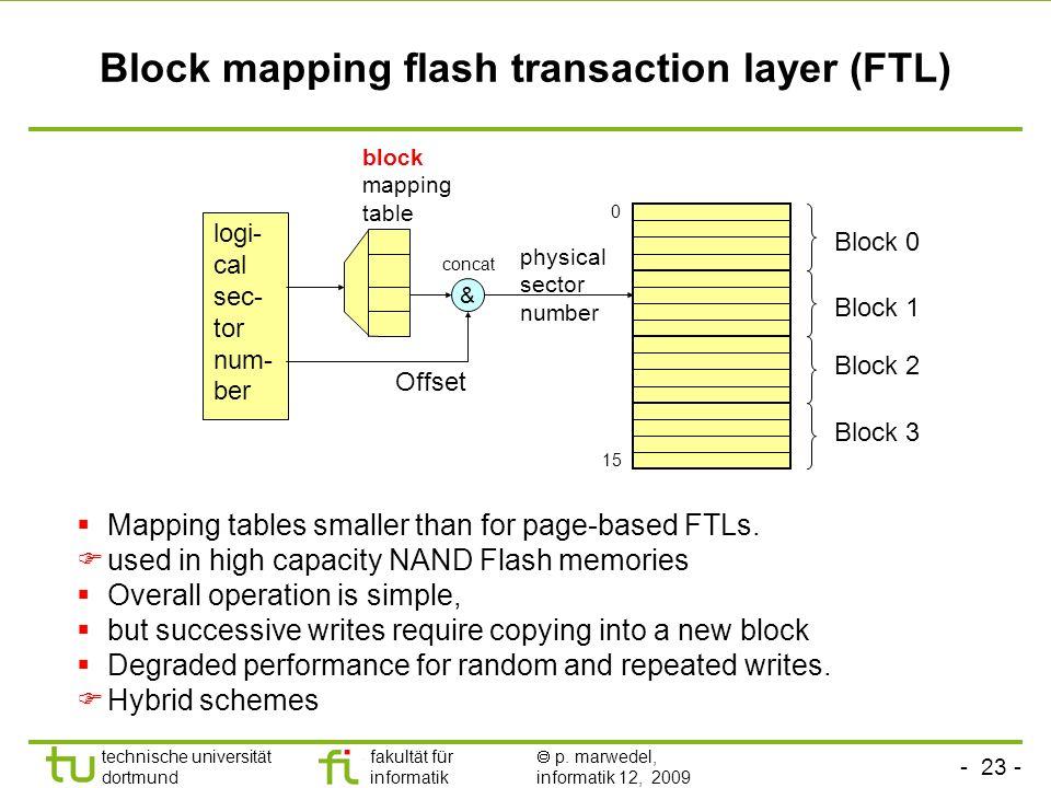 - 23 - technische universität dortmund fakultät für informatik p. marwedel, informatik 12, 2009 TU Dortmund Block mapping flash transaction layer (FTL