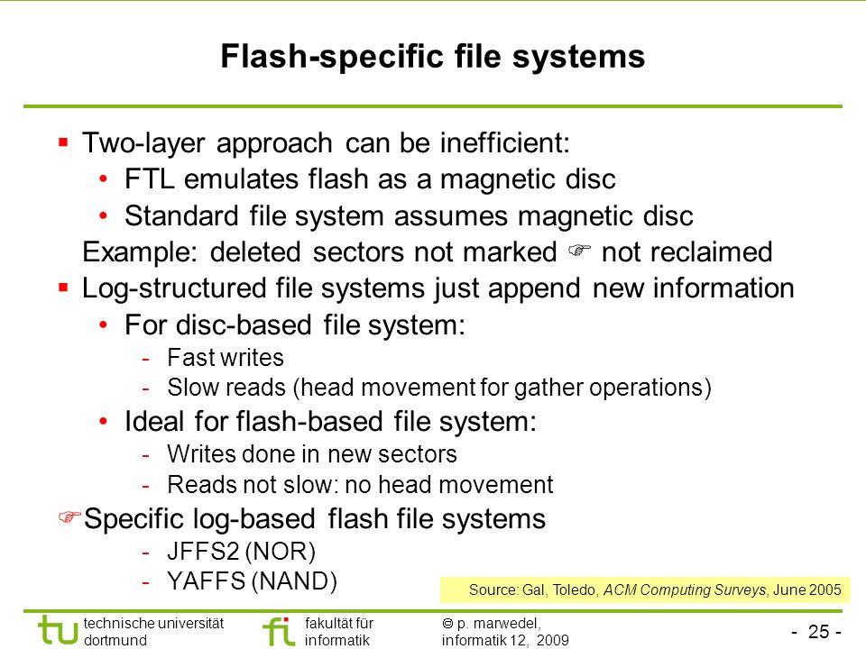 - 25 - technische universität dortmund fakultät für informatik p. marwedel, informatik 12, 2009 TU Dortmund Flash-specific file systems Two-layer appr