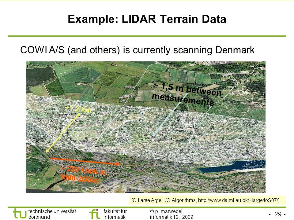 - 29 - technische universität dortmund fakultät für informatik p. marwedel, informatik 12, 2009 TU Dortmund Example: LIDAR Terrain Data ~1,2 km ~ 280