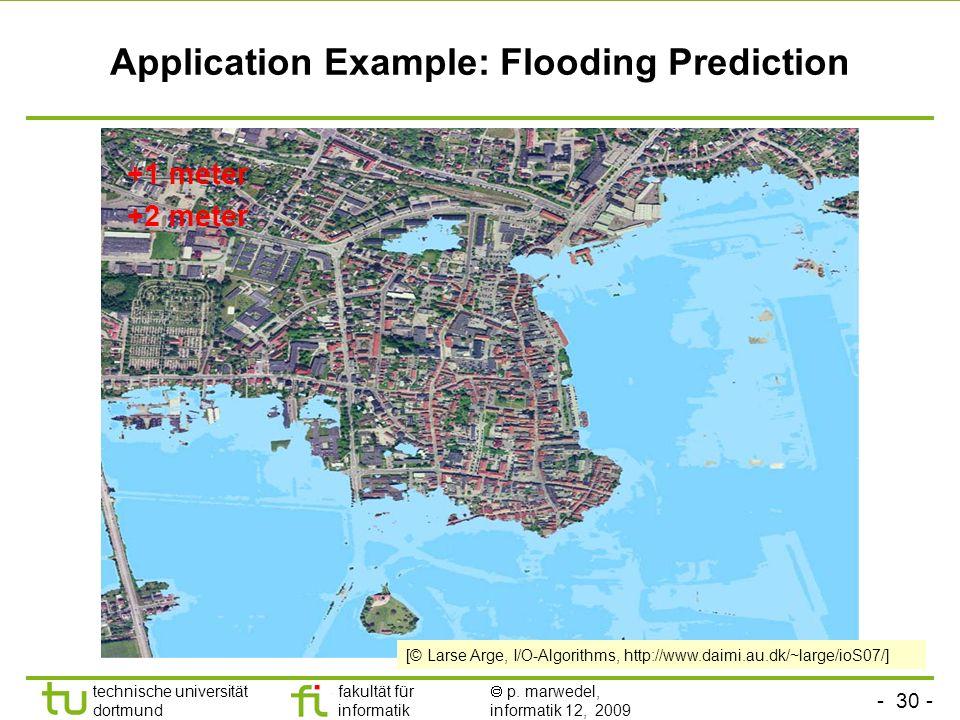 - 30 - technische universität dortmund fakultät für informatik p. marwedel, informatik 12, 2009 TU Dortmund Application Example: Flooding Prediction +