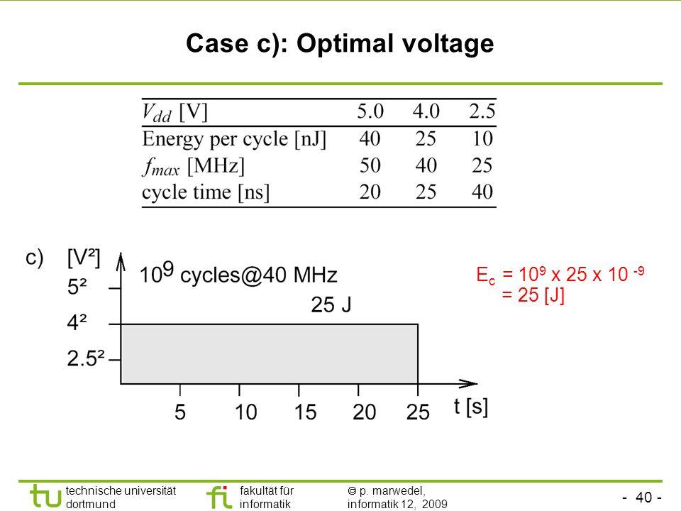 - 40 - technische universität dortmund fakultät für informatik p. marwedel, informatik 12, 2009 TU Dortmund Case c): Optimal voltage E c = 10 9 x 25 x