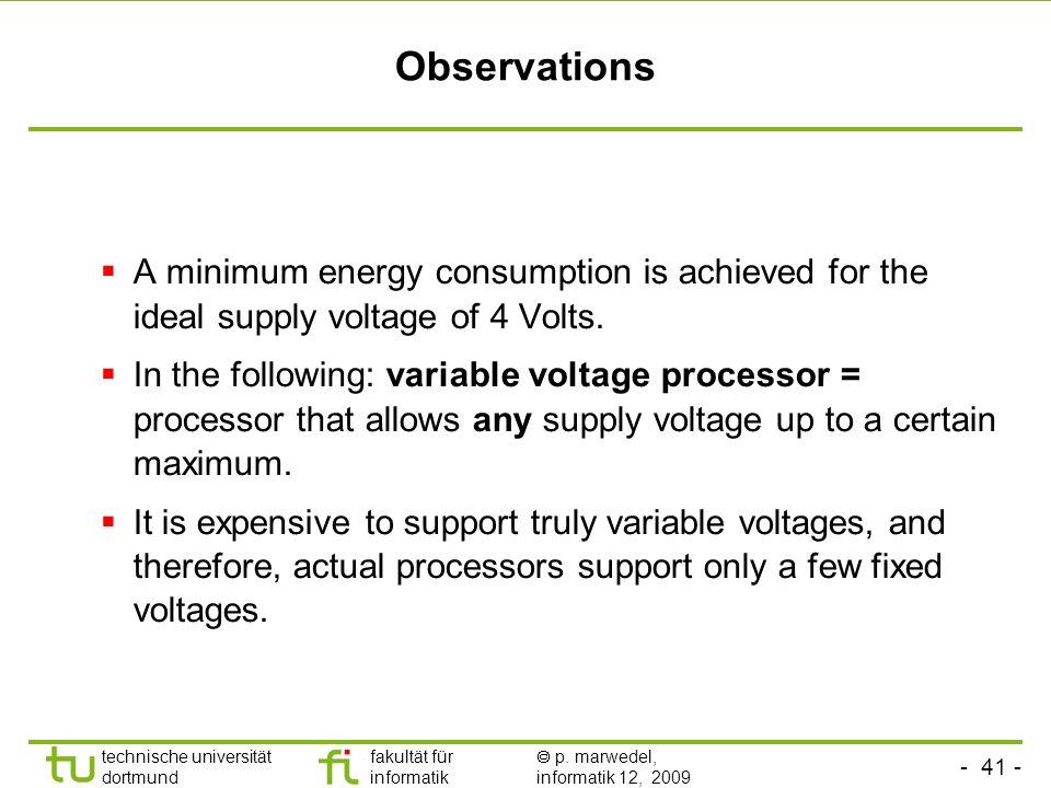 - 41 - technische universität dortmund fakultät für informatik p. marwedel, informatik 12, 2009 TU Dortmund Observations A minimum energy consumption