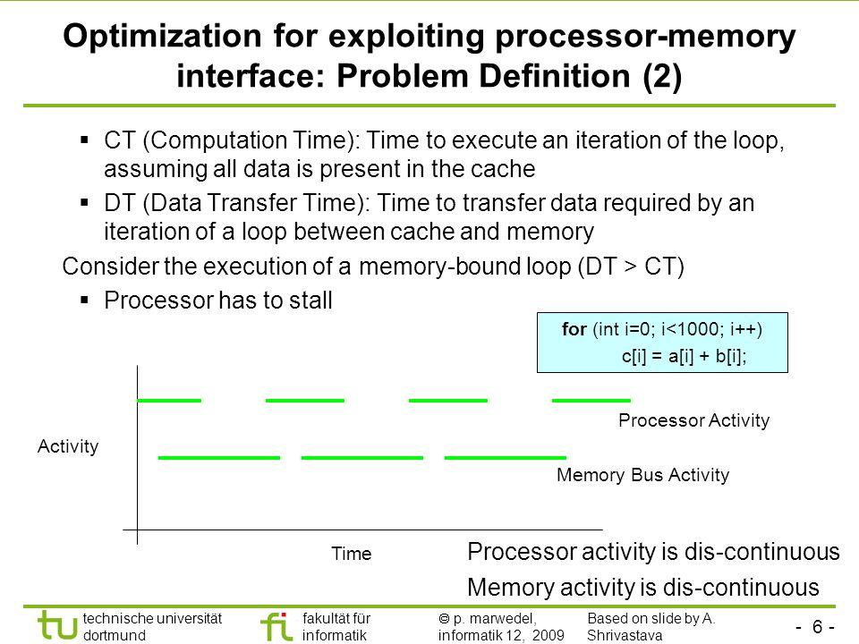 - 6 - technische universität dortmund fakultät für informatik p. marwedel, informatik 12, 2009 TU Dortmund Optimization for exploiting processor-memor