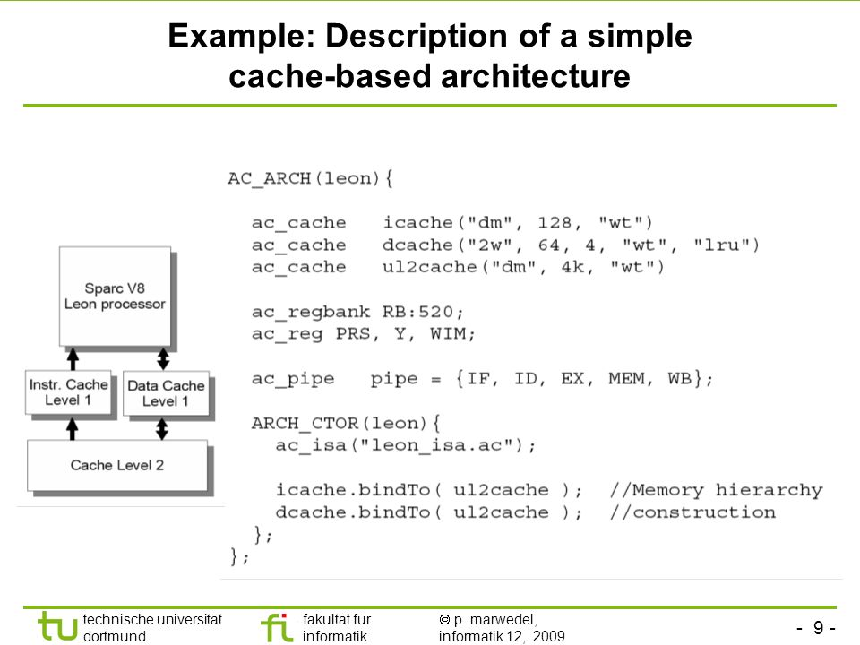 - 9 - technische universität dortmund fakultät für informatik p. marwedel, informatik 12, 2009 TU Dortmund Example: Description of a simple cache-base