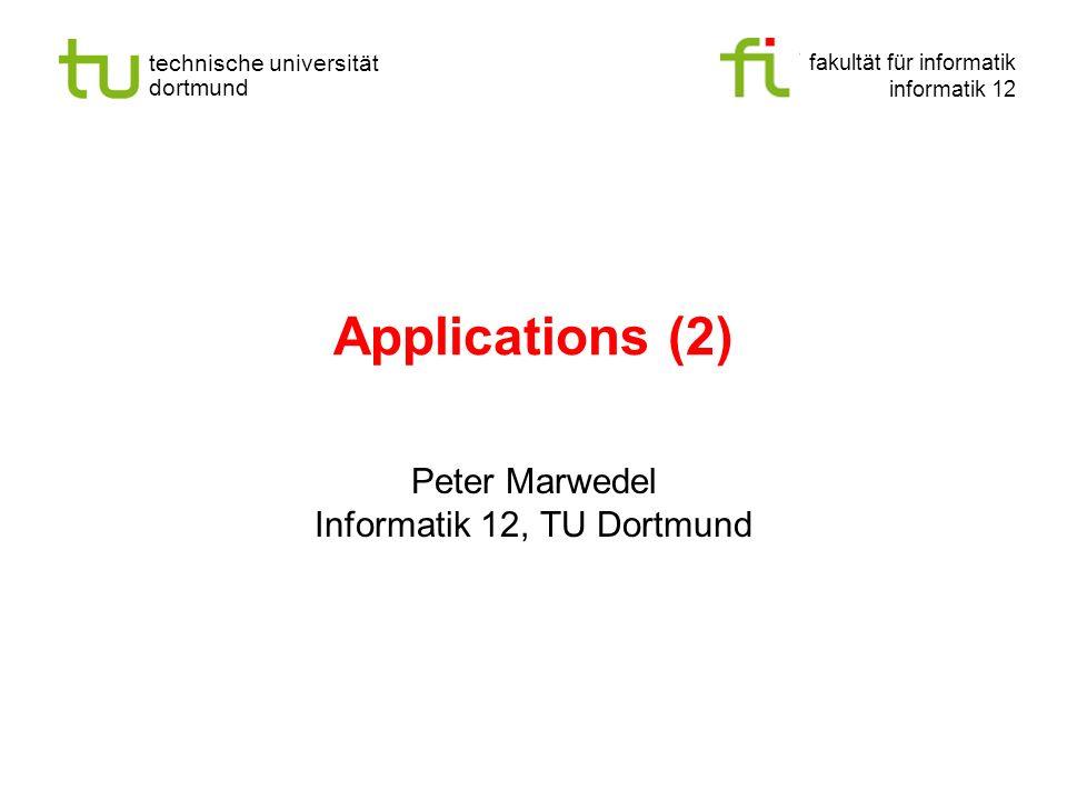 - 22 - technische universität dortmund fakultät für informatik p.marwedel, informatik 12, 2008 Synthese Def.: Synthese ist das Zusammensetzen von Komponenten oder Teilen einer niedrigen (Modell-) Ebene zu einem Ganzen mit dem Ziel, ein auf einer höheren Ebene beschriebenes Verhalten zu erzielen.