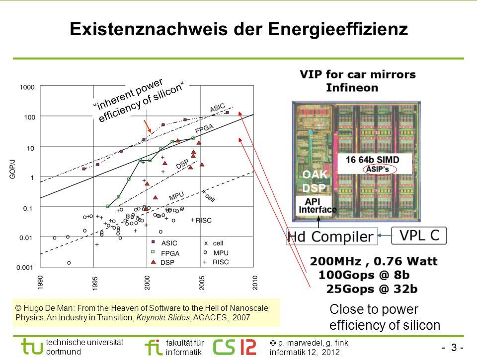 - 3 - technische universität dortmund fakultät für informatik p. marwedel, g. fink informatik 12, 2012 Existenznachweis der Energieeffizienz Close to