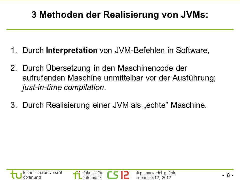 - 8 - technische universität dortmund fakultät für informatik p. marwedel, g. fink informatik 12, 2012 3 Methoden der Realisierung von JVMs: 1.Durch I