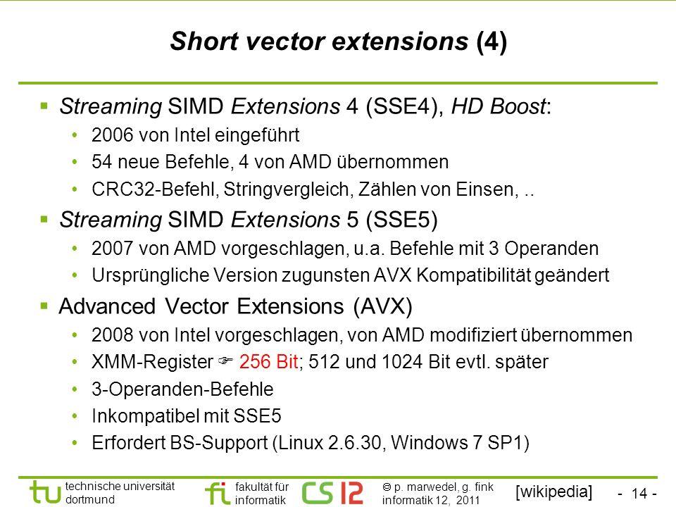 - 14 - technische universität dortmund fakultät für informatik p. marwedel, g. fink informatik 12, 2011 Short vector extensions (4) Streaming SIMD Ext
