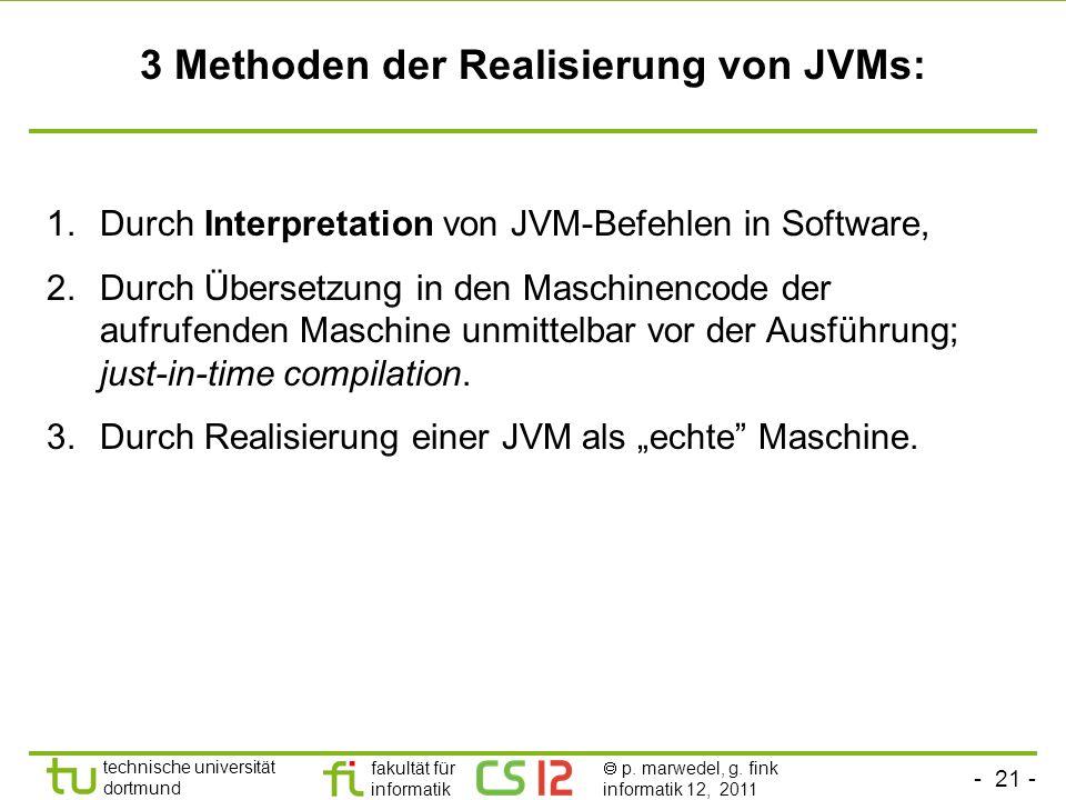 - 21 - technische universität dortmund fakultät für informatik p. marwedel, g. fink informatik 12, 2011 3 Methoden der Realisierung von JVMs: 1.Durch