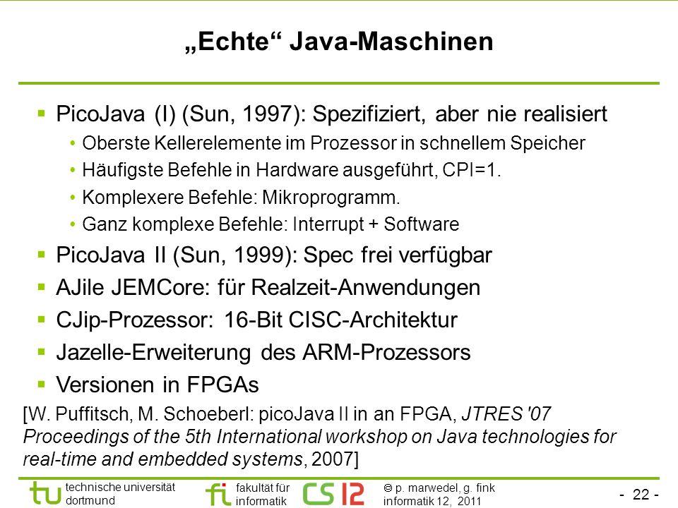 - 22 - technische universität dortmund fakultät für informatik p. marwedel, g. fink informatik 12, 2011 Echte Java-Maschinen PicoJava (I) (Sun, 1997):