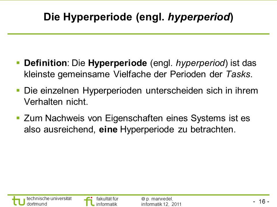 - 16 - technische universität dortmund fakultät für informatik p. marwedel, informatik 12, 2011 Die Hyperperiode (engl. hyperperiod) Definition: Die H