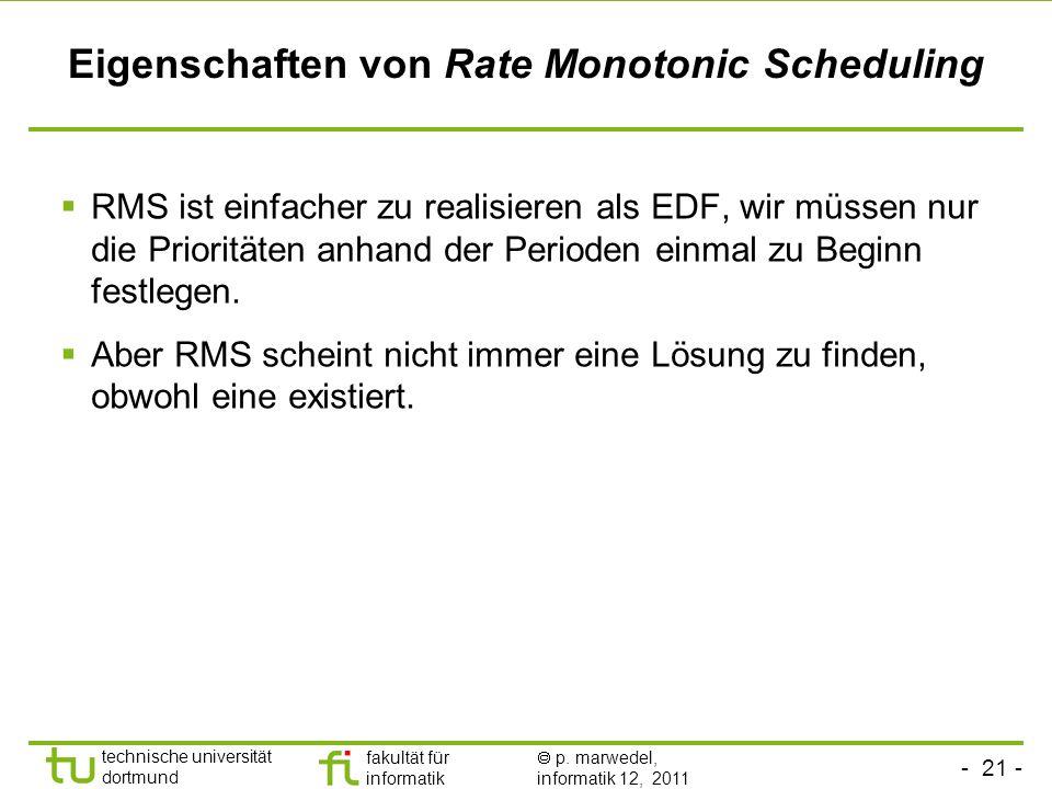 - 21 - technische universität dortmund fakultät für informatik p. marwedel, informatik 12, 2011 Eigenschaften von Rate Monotonic Scheduling RMS ist ei
