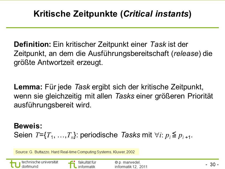 - 30 - technische universität dortmund fakultät für informatik p. marwedel, informatik 12, 2011 Kritische Zeitpunkte (Critical instants) Definition: E